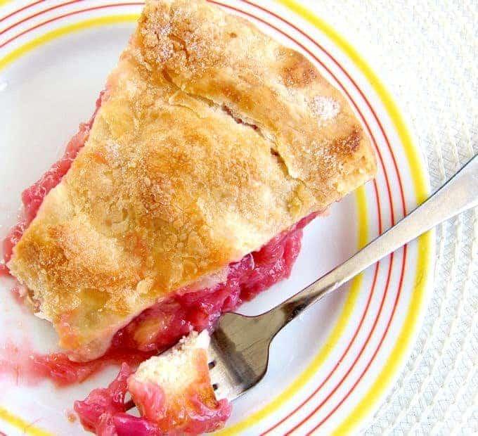 a slice of rhubarb pie