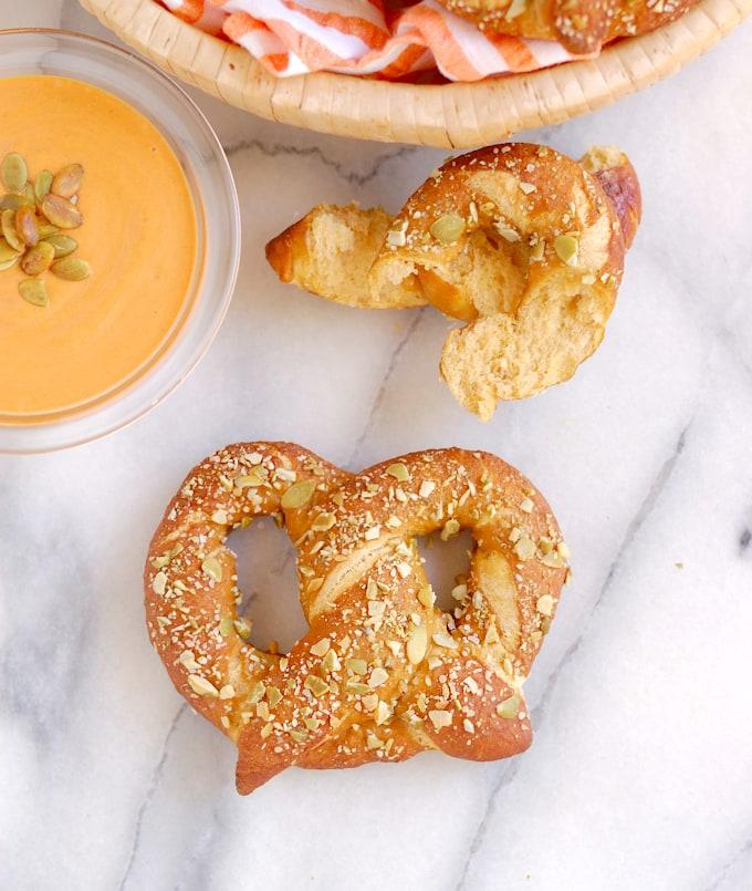 pumpkin-spice-ale-pretzels on a table