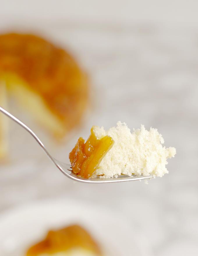 a bite of Mango Upside Down Cake on a fork
