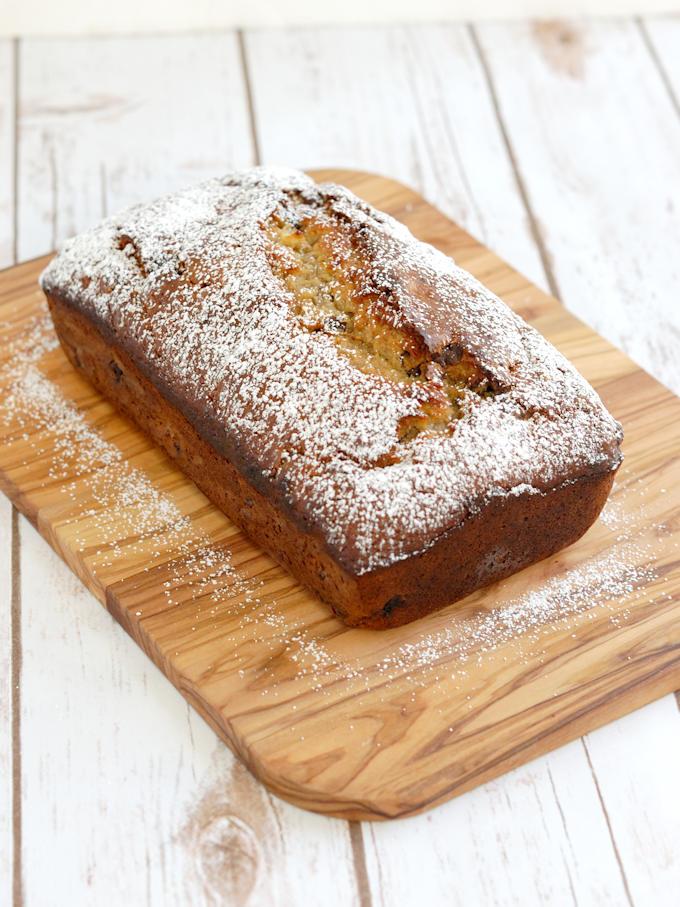 a loaf of chocolate chunk banana bread