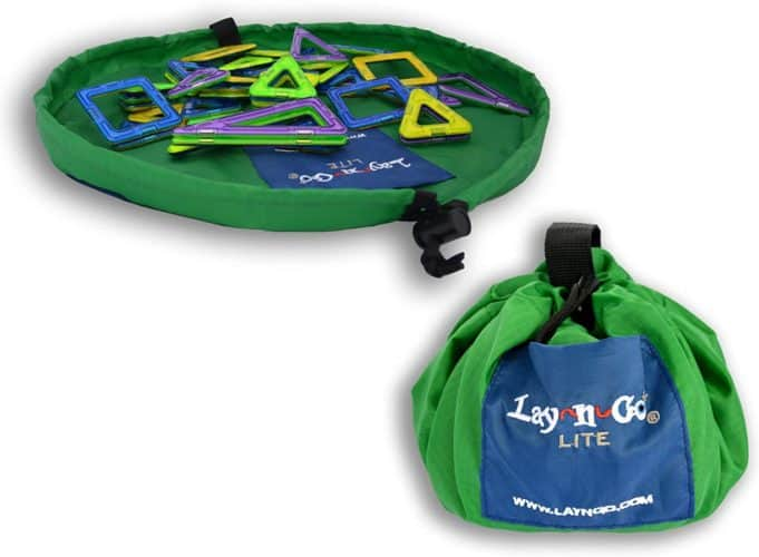 The lay n go sack is ideal for bringing small toys and blocks on vacation