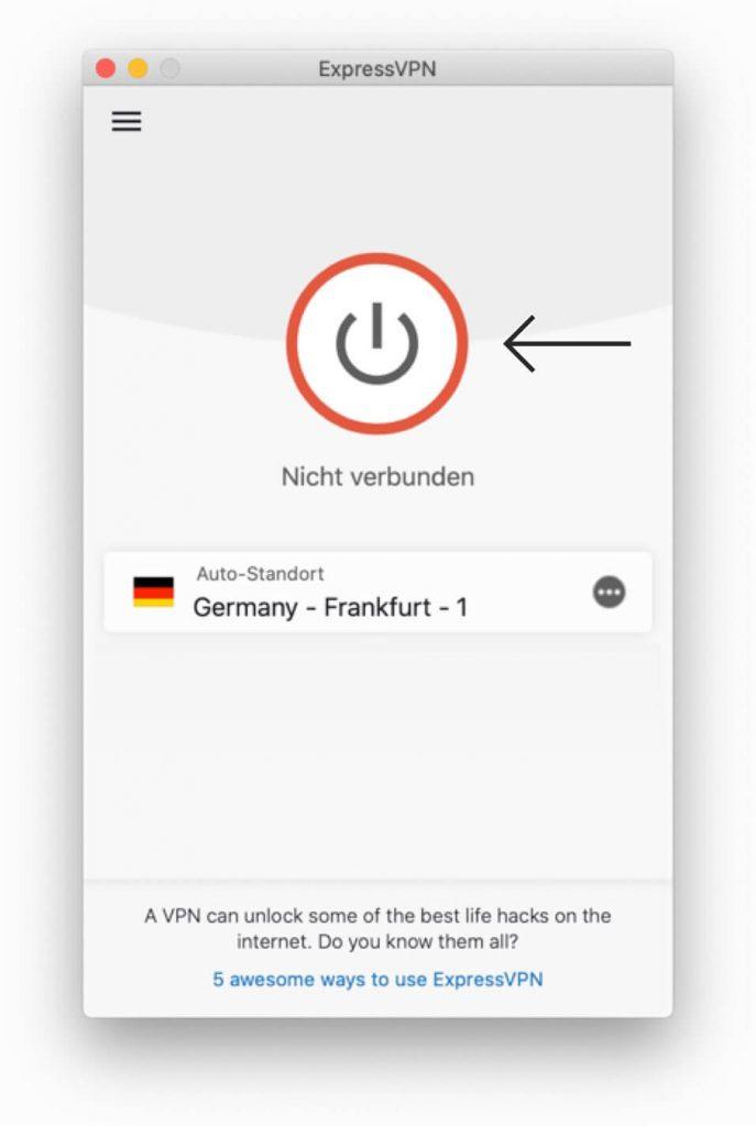 Klicken Sie, um ExpressVPN auf Mac zu verbinden.