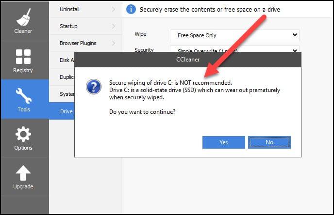 SSD wipe warning