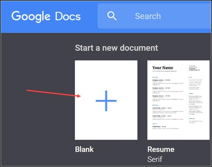 Google Docs blank template