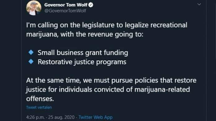 Pennsylvania gouverneur Tom Wolf cannabis legalisatie