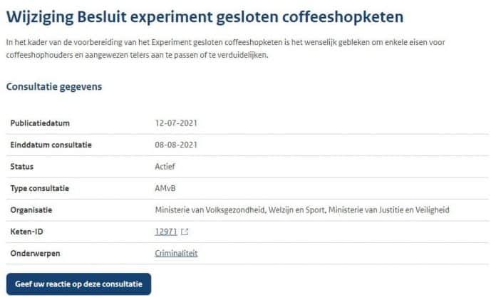 amvb experiment gesloten coffeeshopketen wietexperiment