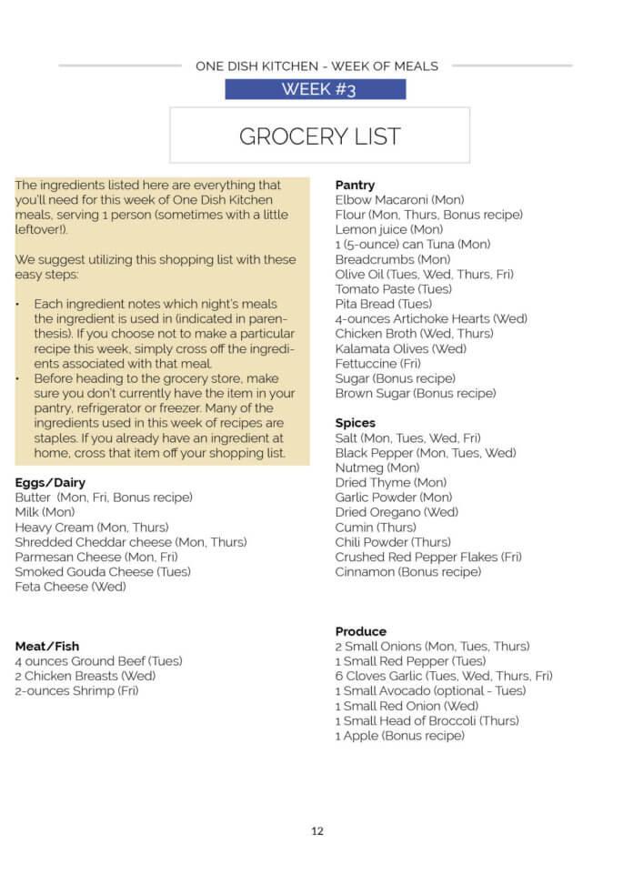 meal plan week 3 grocery list