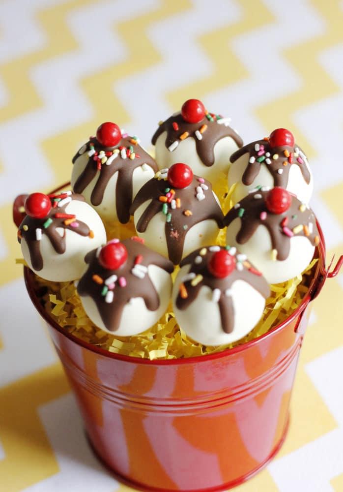 Curious George Birthday Banana Split Cake Pops