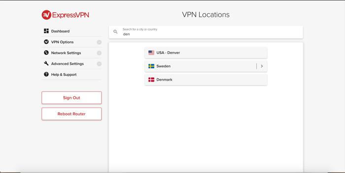 Buscar ubicaciones en la aplicación de ExpressVPN para routers.