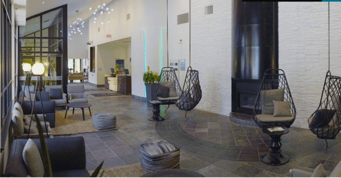 The inviting lobby lounge at aava hotel whistler