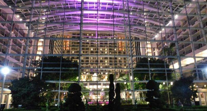Gaylord national resort lights up at night