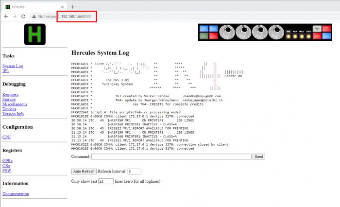 Mainframe Docker console URL