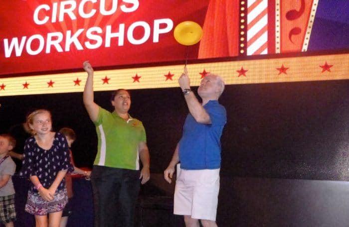 A juggling class on the getaway cruise ship