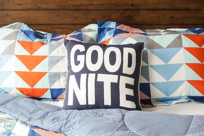 Good Nite pillow in boy bedroom - #ad #BHGLiveBetter #BHGatWalmart @BHGLiveBetter