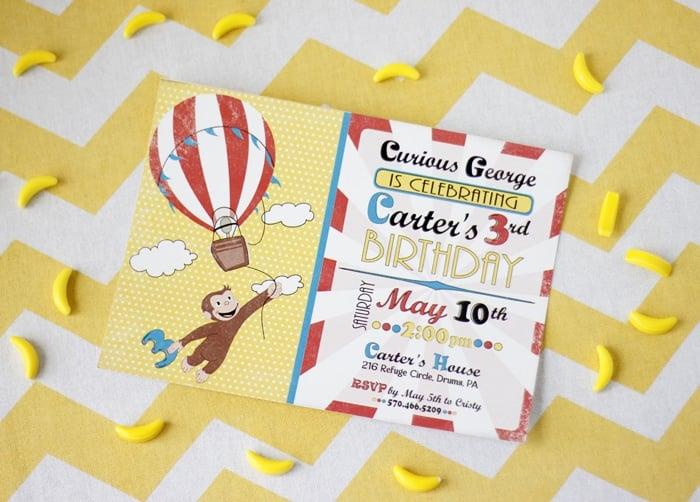 Curious George Birthday Invitation