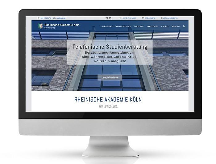 Rheinische Akademie Köln Website Referenz designplus Köln