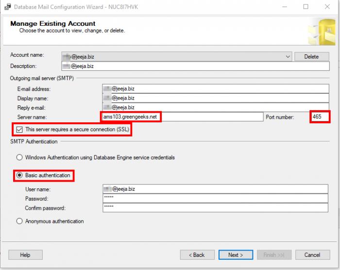 SQL Server send e-mail port 465