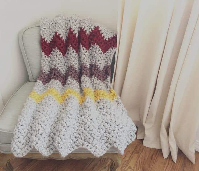 Chunky Chevron Blanket a Free Crochet Blanket Pattern