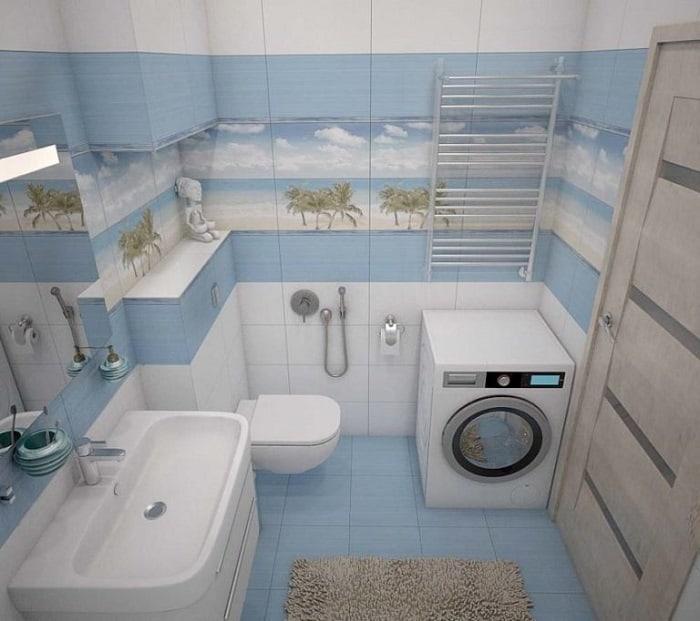 дизайн ванной комнаты фото 6 кв м с туалетом и стиральной машино