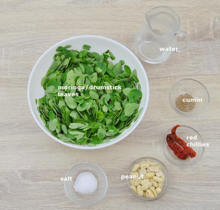 ingredients to make moringa leaves recipe.