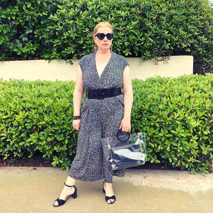 floral wide-leg jumpsuit | 40plusstyle.com