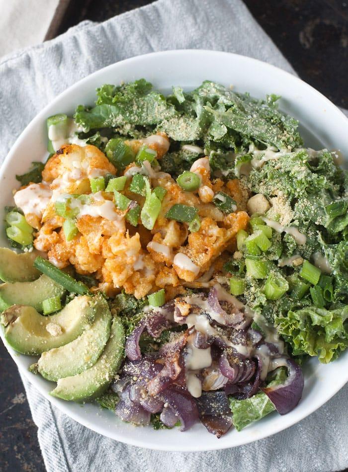 Buffalo Cauliflower Kale Salad