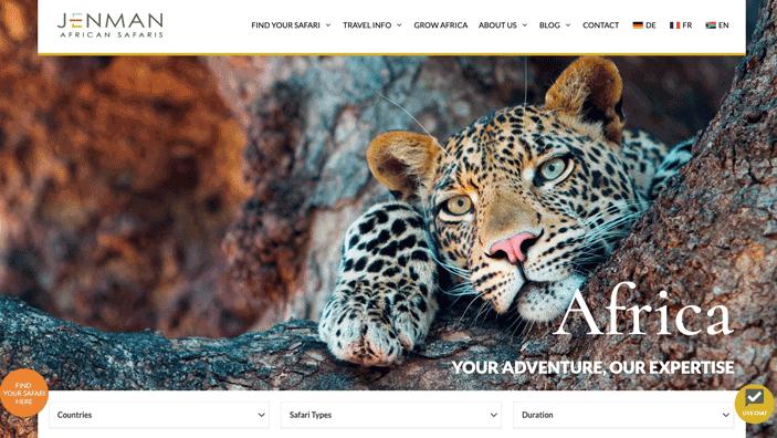 Jenman Safaris Generatepress Premium Example