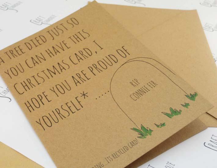 Tree died plastic free Christmas card