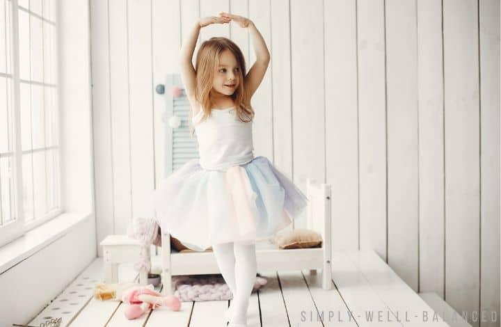 Little girl dancing in her room