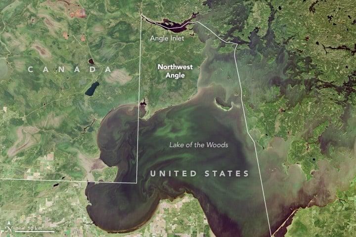 Landsat 8 imagery of the Northwest Angle of Minnesota.  Image: NASA, public domain.