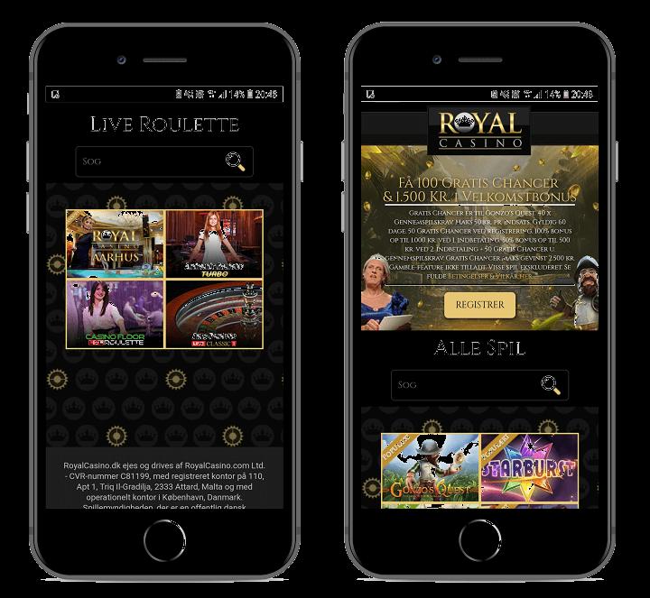 To skærmbilleder af spilleautomater og live casino hos Royal Casino.