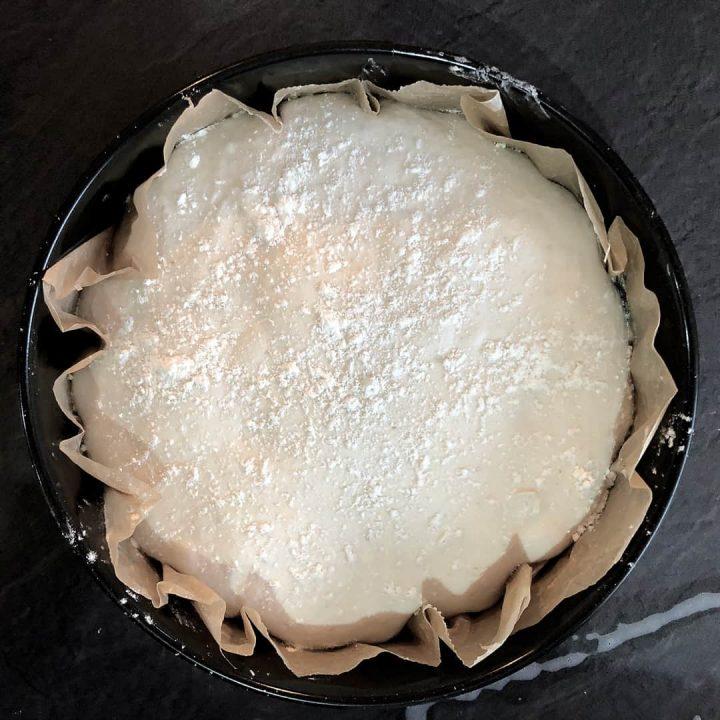 Sourdough bread - final proving in a cake tin