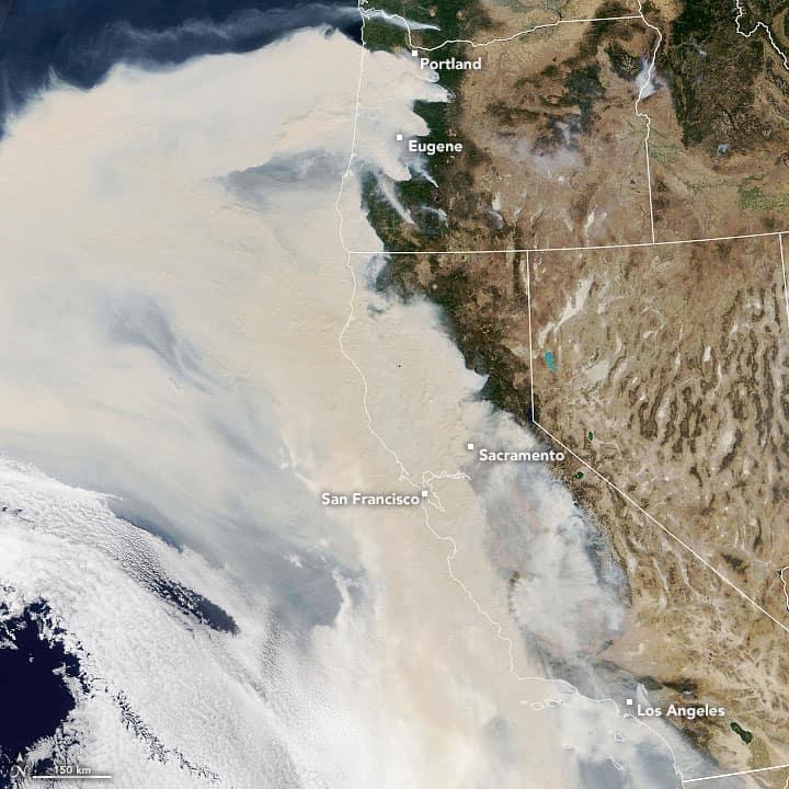Wildfires blanked the entire West Coast on September 9, 2020. Image: Landsat, NASA, public domain.
