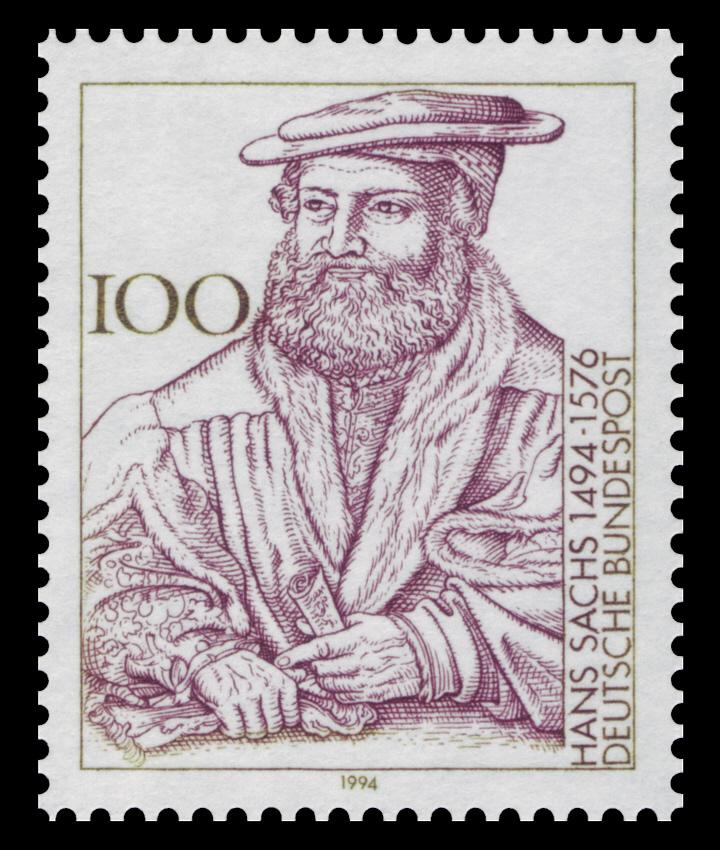 Briefmarke zum 500. Geburtstag von Hans Sachs