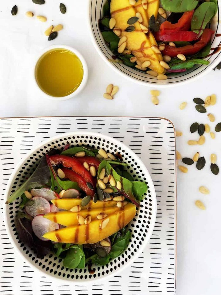 Green Mango and Pine Nuts Salad with Homemade Honey and Mustard Dressing