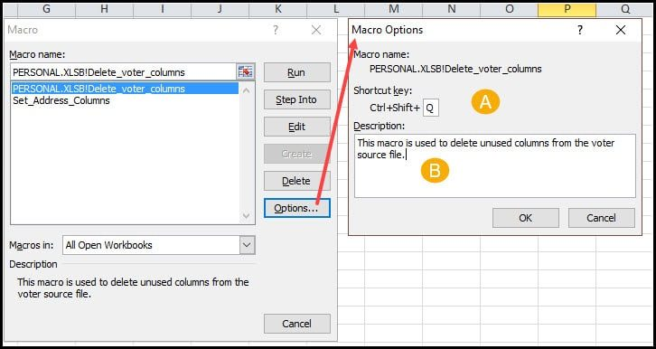 Options dialog for changing shortcut and description.
