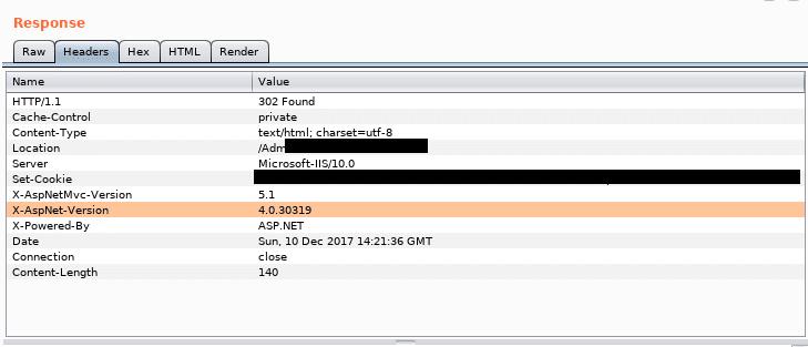 Przykładowa odpowiedź serwera z wrażliwymi danymi