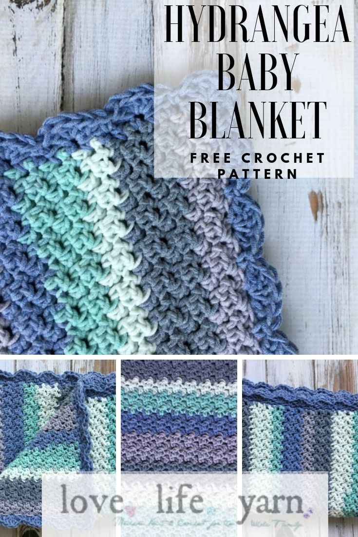 Such an easy pattern! Uses only sc and dc to create this gorgeous blanket made with Caron Cotton Cakes yarn! #freecrochetpattern #crochetbabyblanket