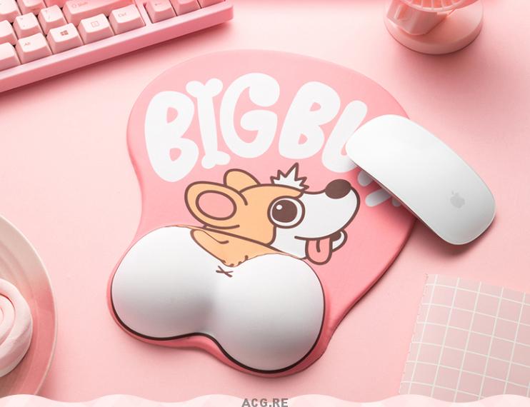 Pink Welsh Corgi Mouse Pad Corgi Pink Mouse Pad Cute Mouse Pad With Wrist Rest (1)