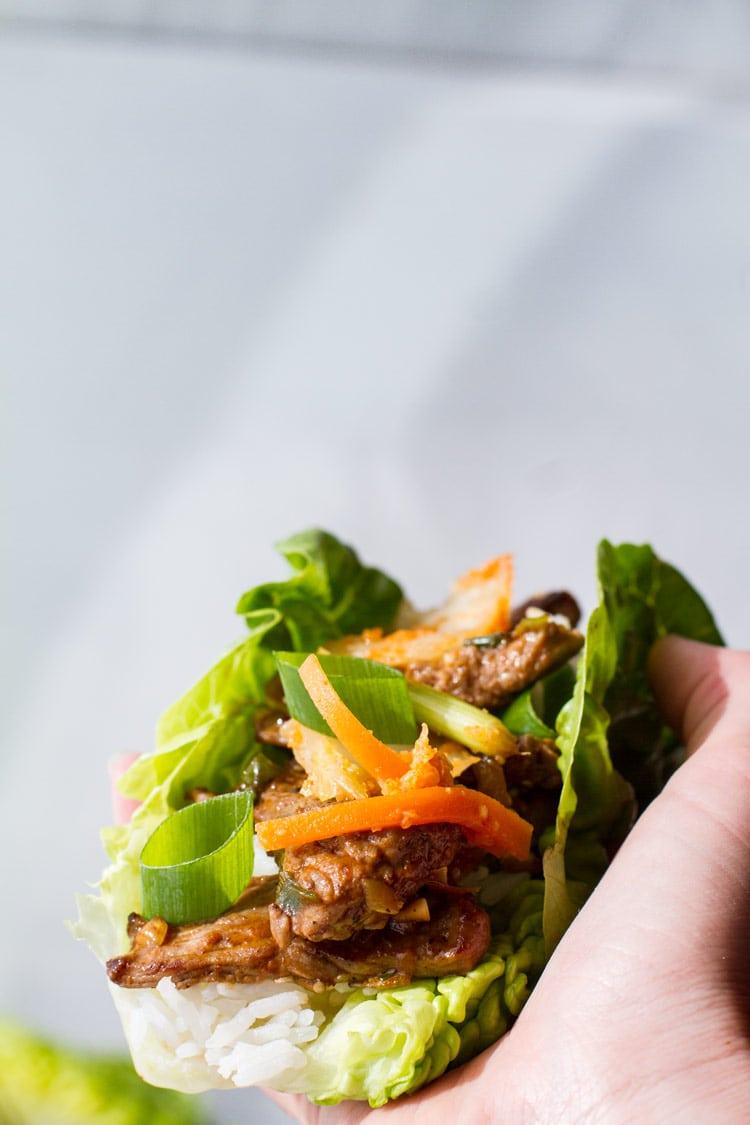 Beef bulgogi lettuce wrap.