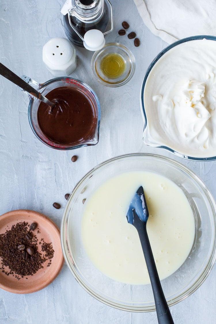 Ingredients to make no churn ice cream.