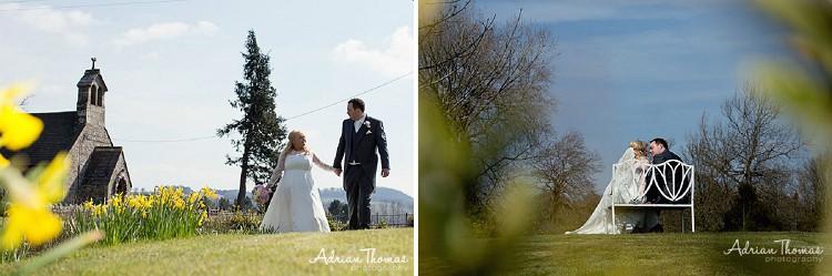 bride and groom walking or sitting