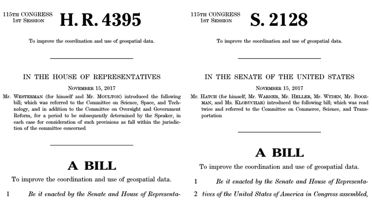 Geospatial Data Act of 2017 was released in both the House (H.R.4395) and Senate (S.2128).