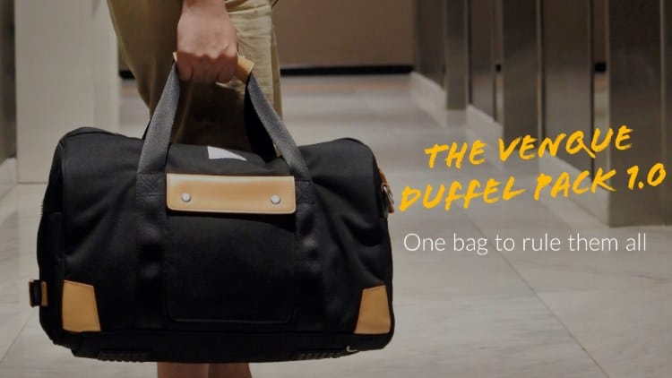 I finally found a bag that meets the demands of long trips yet can be easily brought along without having to check it in -- The Venque Duffel Pack 1.0.