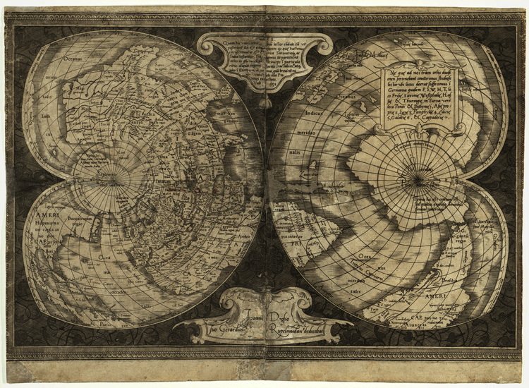 World map in double cordiform projection (Werner) by Gerardus Mercator, 1538. Map held at the American Geographical Society Library.