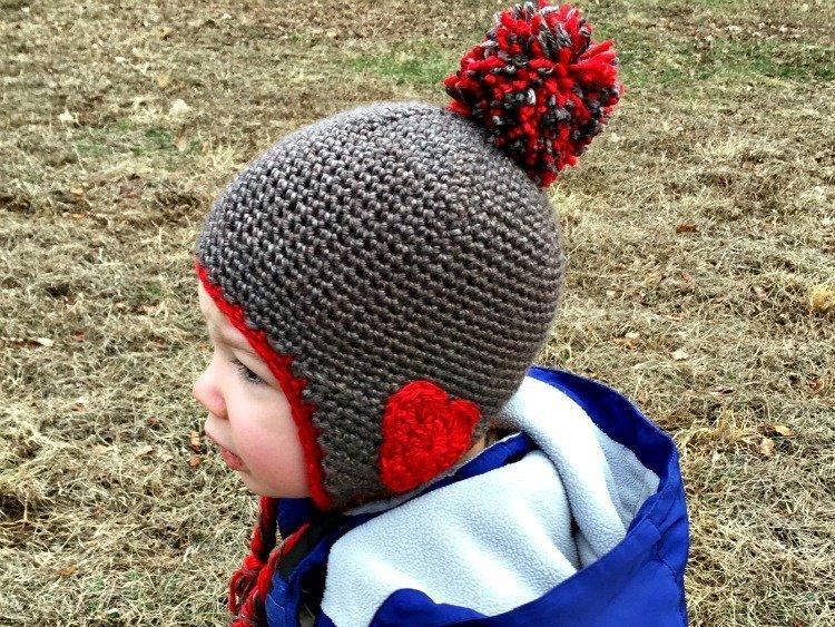 Free Crochet Pattern - Valentine Ear Flap Hat