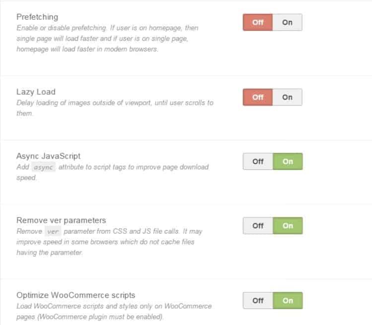 MyBlog WordPress Theme - MTS - Performance Settings