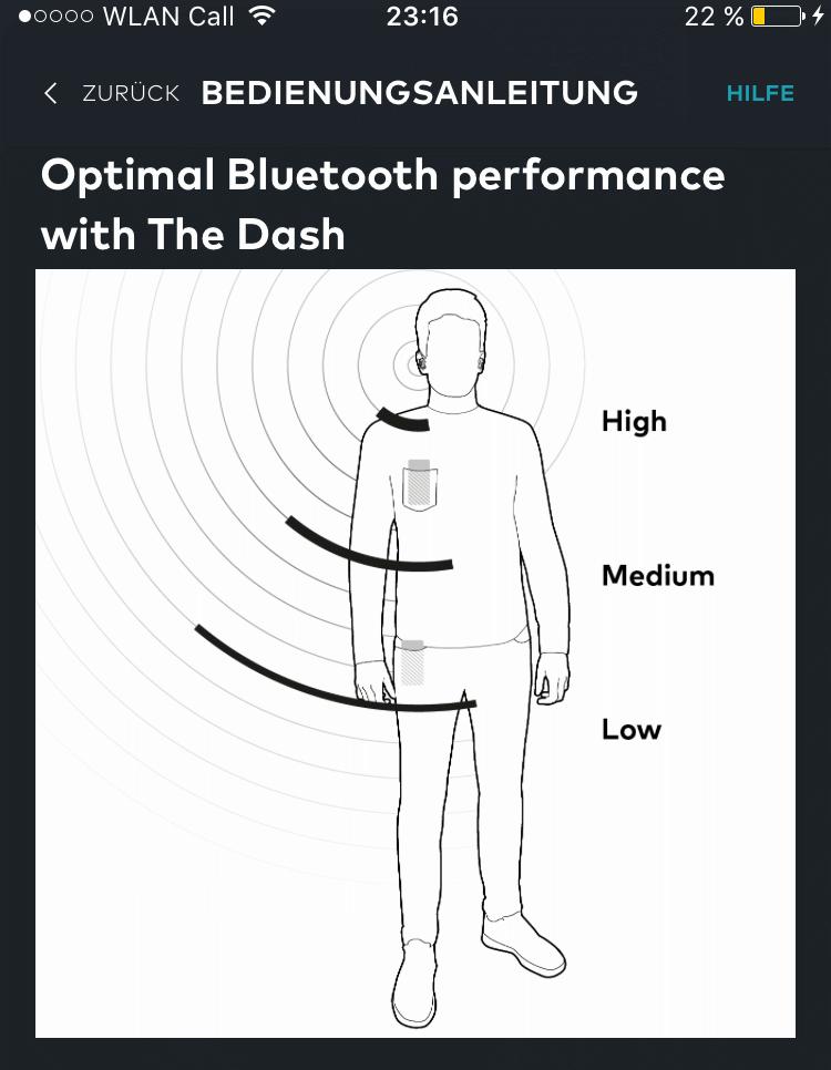 bragi dash bluetooth verbindung hosentasche
