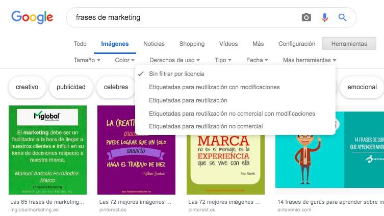 derechos de uso de imágenes para la web