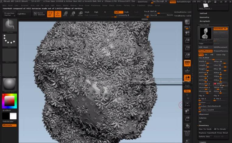 Инструмент NanoMesh обзор программы ZBrush
